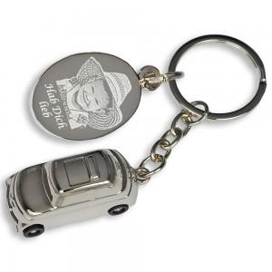 Auto Schlüsselanhänger mit Gravur und Gravurplatte