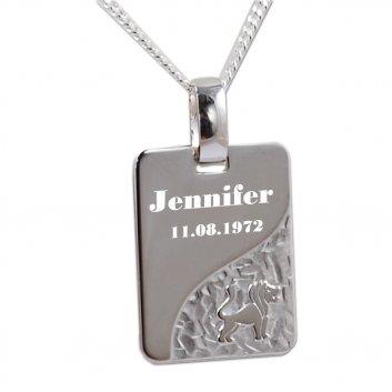 Sternzeichenanhänger aus 925er Silber mit Löwen Motiv und einer persönlichen Gravur