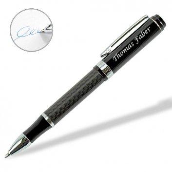 UMA Carbon Kugelschreiber mit blau schreibender Mine und Gravur