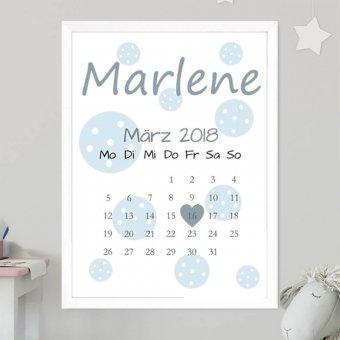 Baby Kalender Poster mit Nielsen Bilderrahmen Quadrum