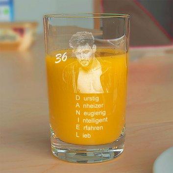 Spiegelau Saftglas mit Geburtstagscollage