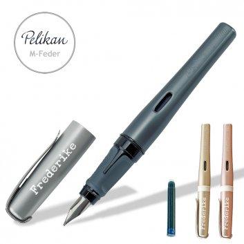 Pelikan Füller Pelikano Up in den Farben schwarz, rose und gold mit Gravur und Tintenpatrone