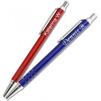 Kugelschreiber mit Gravur Slim in den Farben blau und rot