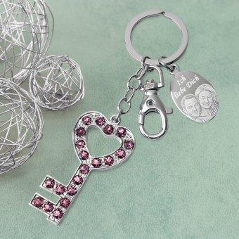 Schlüsselanhänger Strass Valentinsgeschenk mit Gravur