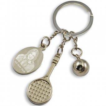 Schlüsselanhänger Tennisset mit Fotogravur, Frau