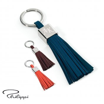 Schlüsselanhänger Gala von Philippi in den Farben bleu, orange und braun mit Initialengravur