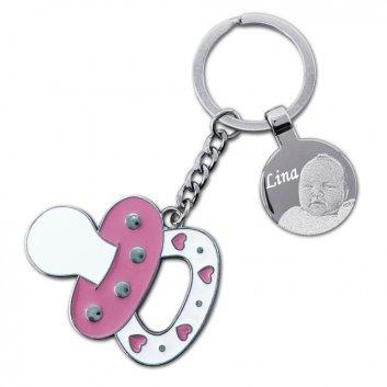 Nuckel Schlüsselanhänger Babyrosa mit Fotogravur