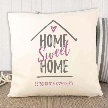 """""""Home Sweet Home"""" Kissen mit Geodaten"""