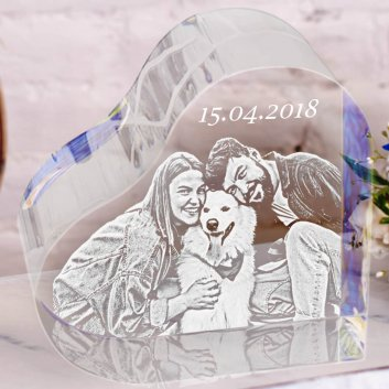 Fotoglas Herz XXL 10cm mit Gravur