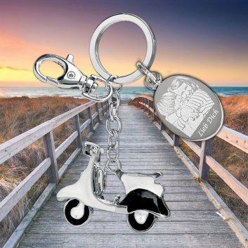 Vespa Schlüsselanhänger mit Foto und Textgravur