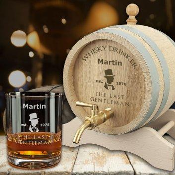 Geschenk-Set Whiskyglas und Whiskyfass graviert