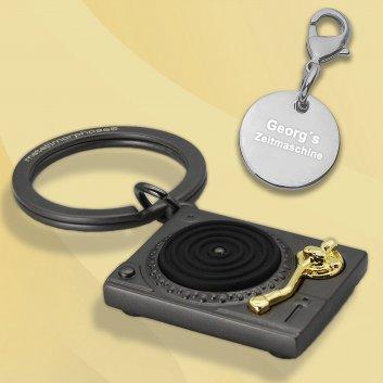Plattenspieler Schlüsselanhänger mit Gravur