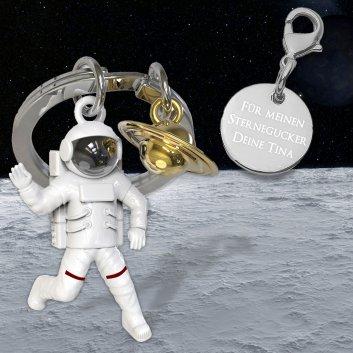Astronauten Schlüsselanhänger mit Gravurplatte