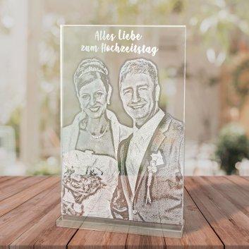 Glastrophäe mit Fotogravur zur Hochzeit