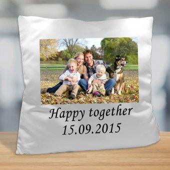 Fotokissen mit Familienfoto und Text