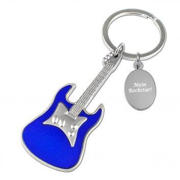 Schlüsselanhänger Gitarre matt blau mit Textgravur