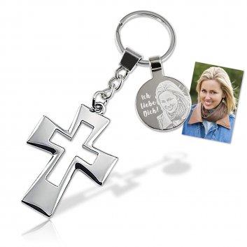 Schlüsselanhänger Glamour-Kreuz mit vielen Glamoursteine und einer Fotogravur