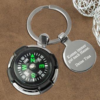 Kompass Schlüsselanhäner mit Gravurplatte