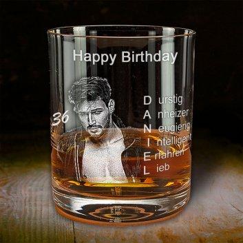 Whiskyglas zum Geburtstag mit Gravur