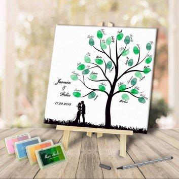 Fingerabdruck Leinwand Baum für Hochzeitsgäste