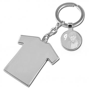 Schlüsselanhänger mit Trikot-Anhänger und einer Fotogravur - dazu die Nummer 9 graviert