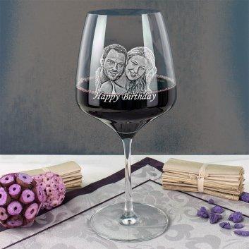 Stölzle Rotweinglas mit Fotogravur als Geburtstagsgeschenk