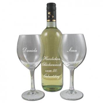 Weißweinset mit gravur, Flasche und Gläser