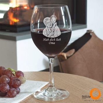 Rotweinglas mit Foto und Tex graviert von Spiegelau