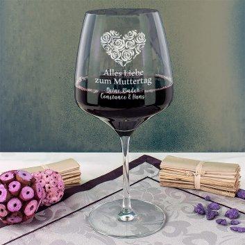 Rotweinglas zum Muttertag mit Gravur