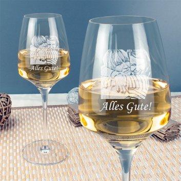 Stölzle Weißweinglas mit Fotogravur mit Detailaufnahme