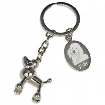 Schlüsselanhänger Pudel mit Fotogravur