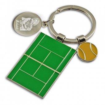 Schlüsselanhänger Tennisplatz mit Fotogravur, Frau