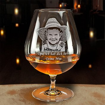 Cognac Glas mit Fotogravur