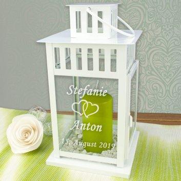 Hochzeitslaterne mit Gravur 44cm in weiß mit Herzen