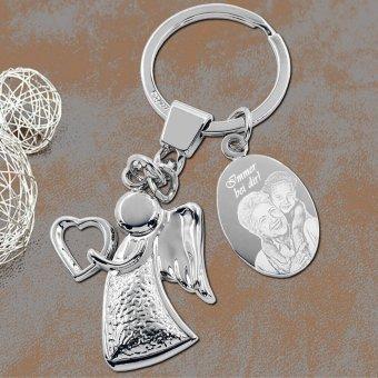 Helfer Engel Schlüsselanhänger mit Fotogravur auf Lederunterlage