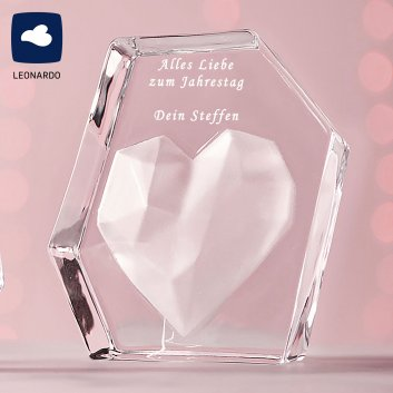 Glasobjekt Herz EMOZIONE von LEONADO mit Gravur