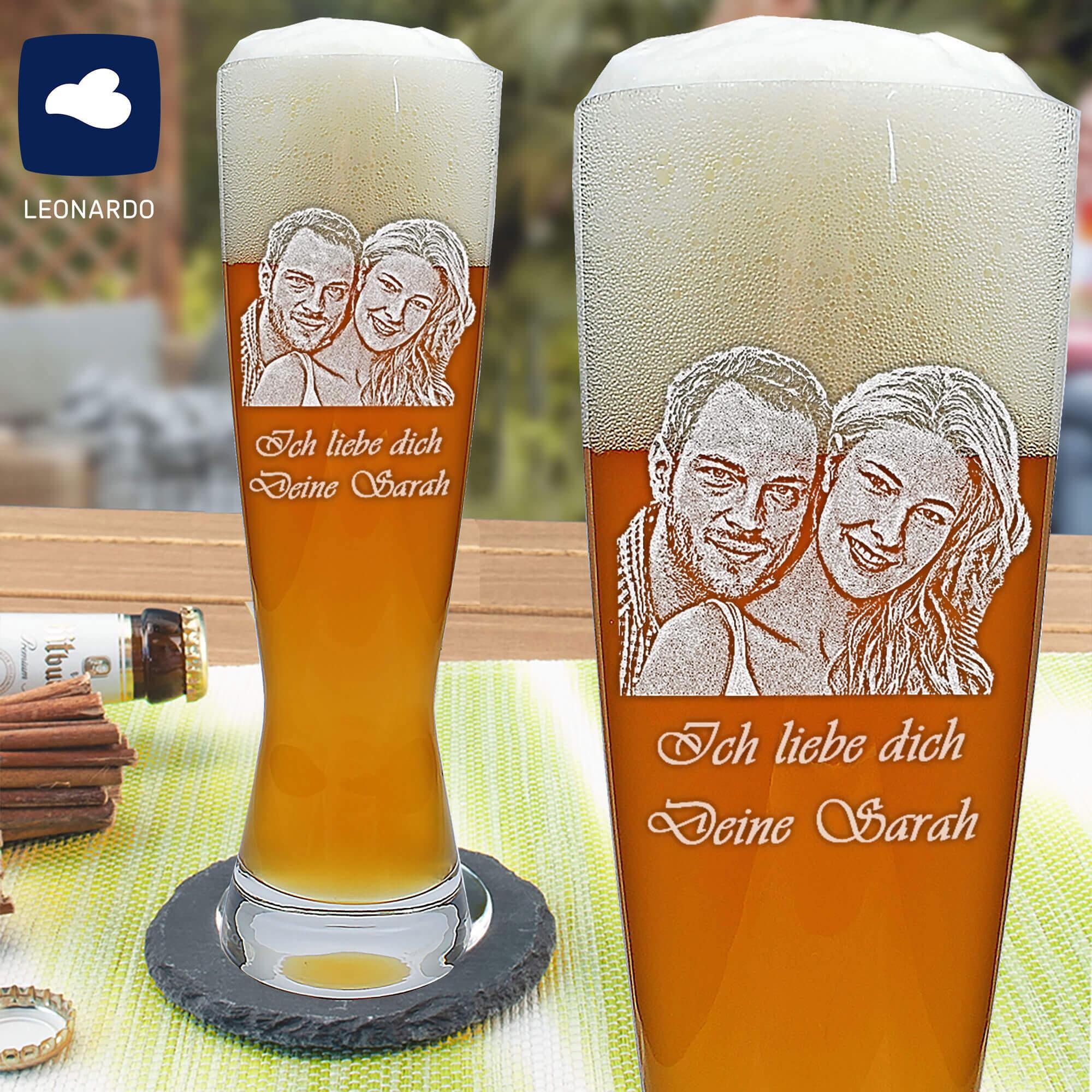 Weizenbierglas mit Fotogravur