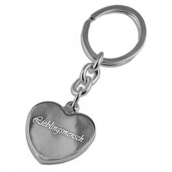Schlüsselanhänger in Herzform versilber mit einem persönlichen Text graviert