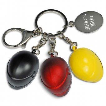 Schlüsselanhänger Helm mit Gravur in drei verschiedenen Farben