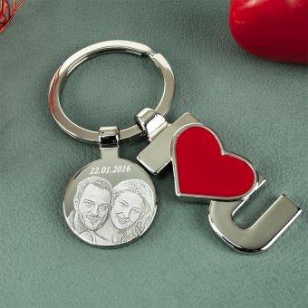I Love You Schlüsselanhänger mit Fotogravur Plättchen