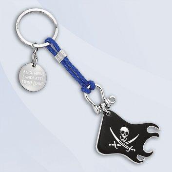 Piratenflagge als maritimer Schlüsselanhänger mit Gravurplatte