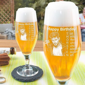 Bierglas mit graviertem Geburtstagsmotiv