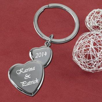 Doppelherz Schlüsselanhänger mit Gravur und Schlüsselring