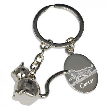 Schlüsselanhänger Katze mit Fotogravur