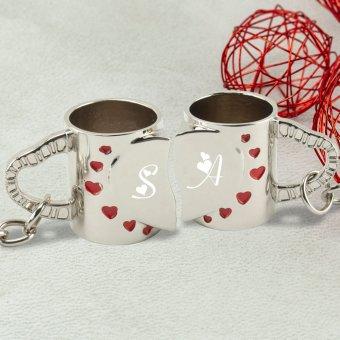 Herz Tassen Schlüsselanhänger Set mit Gravur