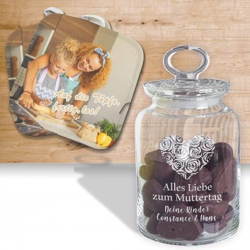 Geschenkset Topflappen und Keksglas personalisiert mit Druck und Gravur