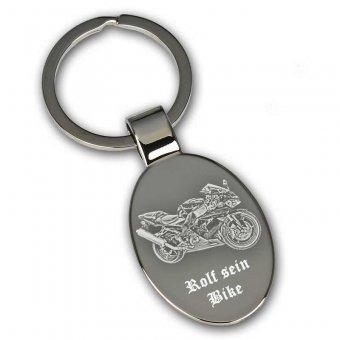 Schlüsselanhänger oval mit Fotogravur Motorad
