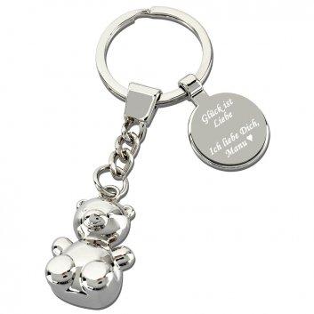Glücksbärchen Schlüsselanhänger mit Gravur