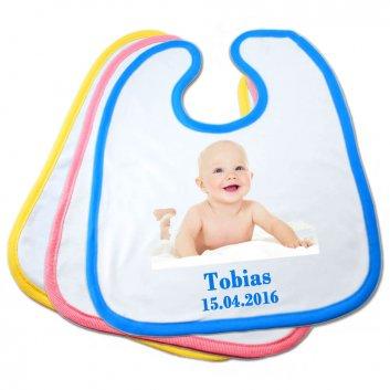 Baby Lätzchen mit Baby Foto und Text Tobias 15.04.2016