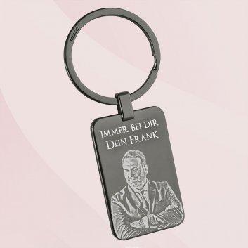 Black Edition Schlüsselanhänger Rechteck mit Gravur